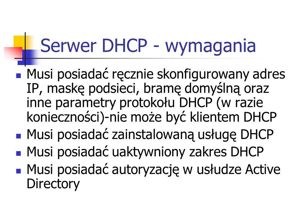 Serwer DHCP - wymagania
