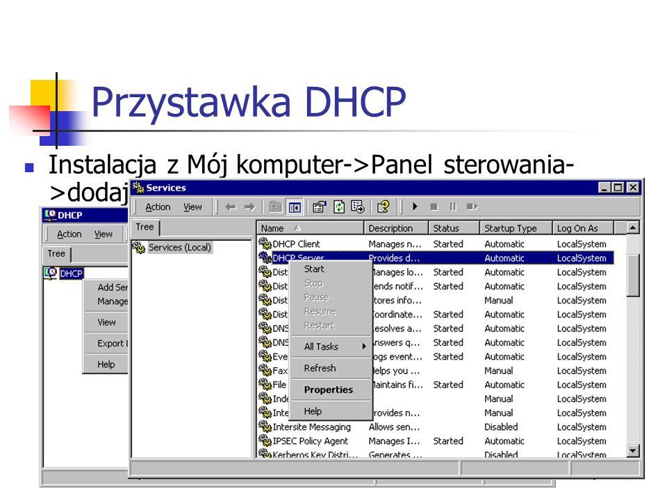 Przystawka DHCP Instalacja z Mój komputer->Panel sterowania->dodaj/usuń programy