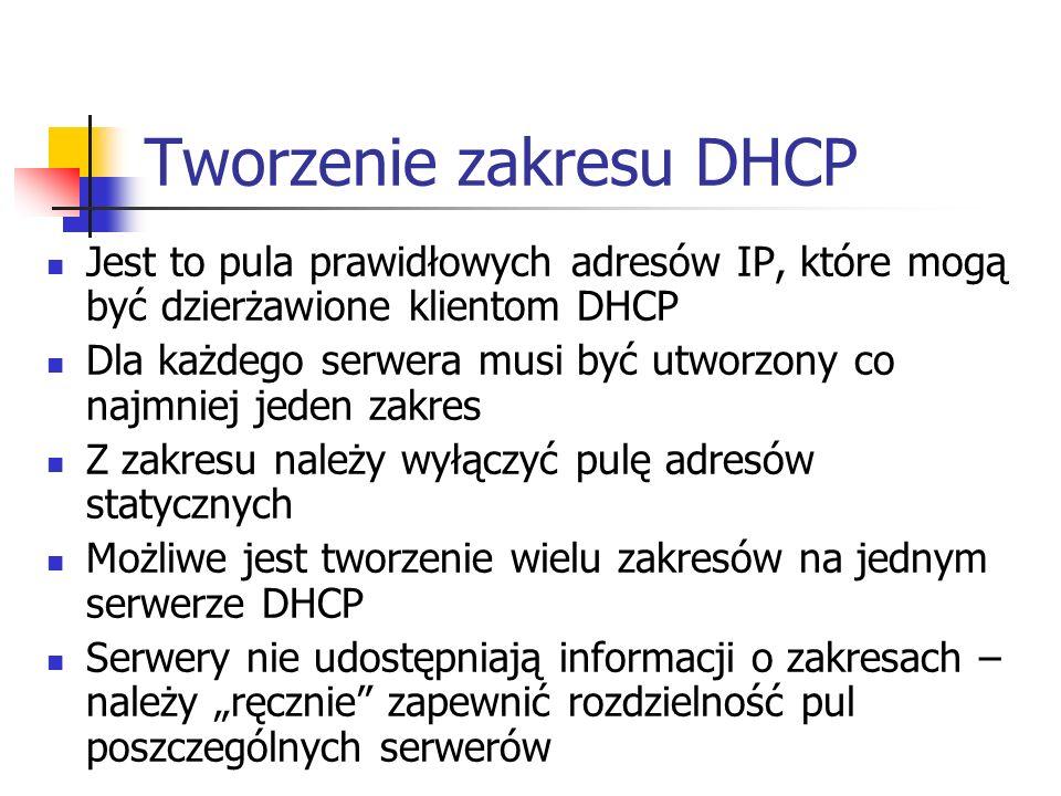 Tworzenie zakresu DHCP