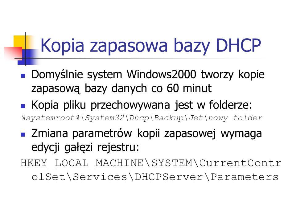 Kopia zapasowa bazy DHCP