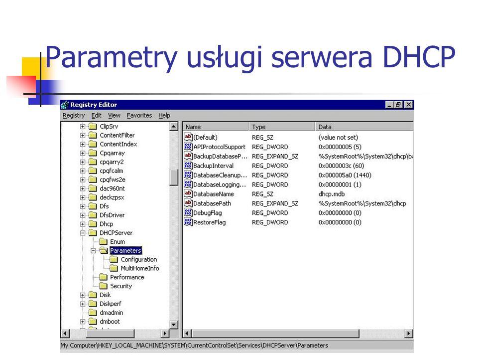 Parametry usługi serwera DHCP