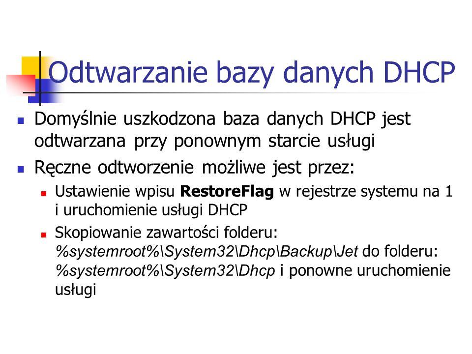 Odtwarzanie bazy danych DHCP