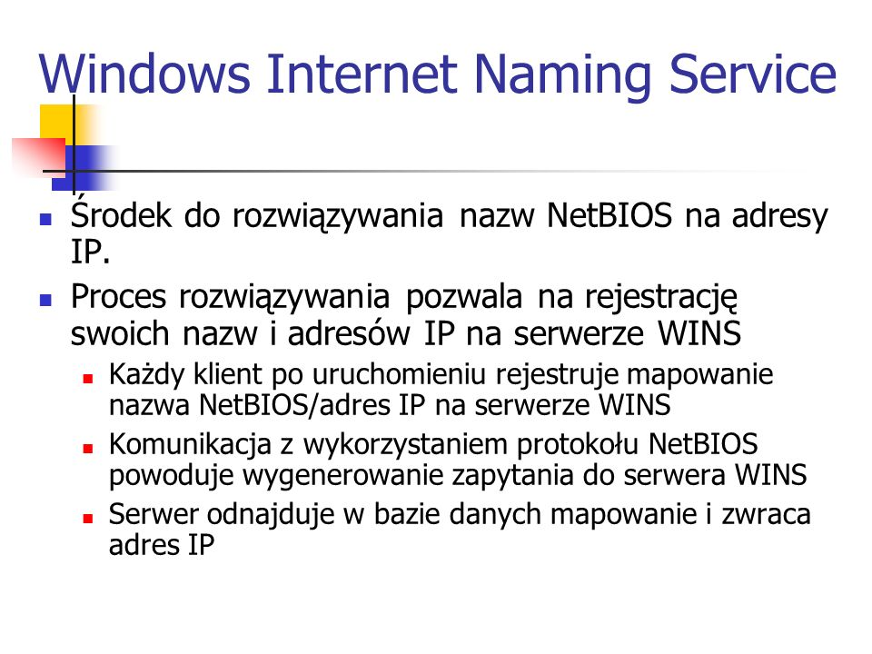 Windows Internet Naming Service
