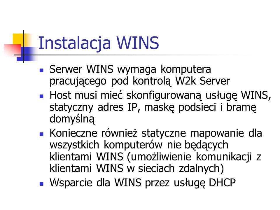 Instalacja WINS Serwer WINS wymaga komputera pracującego pod kontrolą W2k Server.