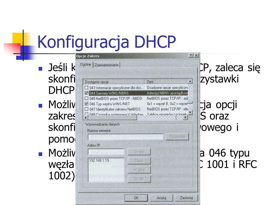 Konfiguracja DHCP Jeśli komputer jest klientem DHCP, zaleca się skonfigurowanie przy pomocy przystawki DHCP konfiguracje WINS.