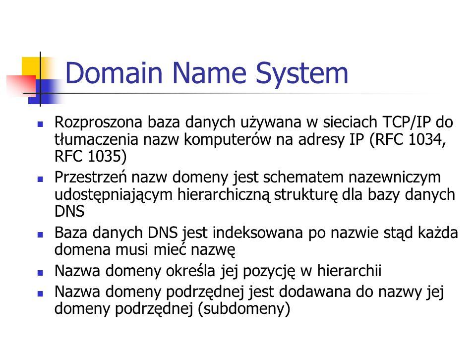 Domain Name System Rozproszona baza danych używana w sieciach TCP/IP do tłumaczenia nazw komputerów na adresy IP (RFC 1034, RFC 1035)