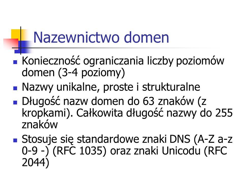 Nazewnictwo domen Konieczność ograniczania liczby poziomów domen (3-4 poziomy) Nazwy unikalne, proste i strukturalne.