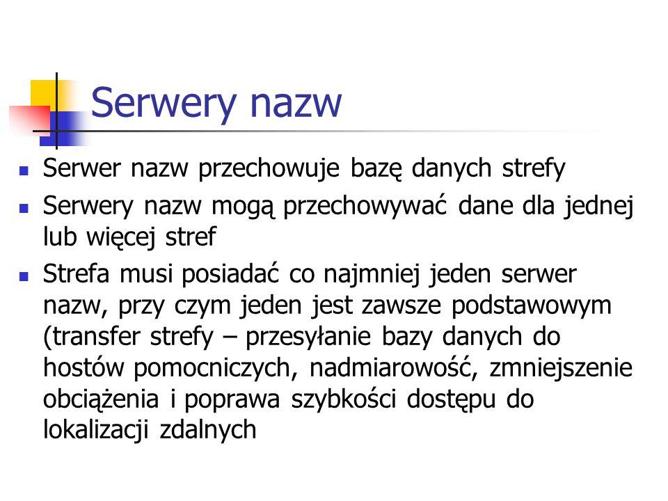 Serwery nazw Serwer nazw przechowuje bazę danych strefy