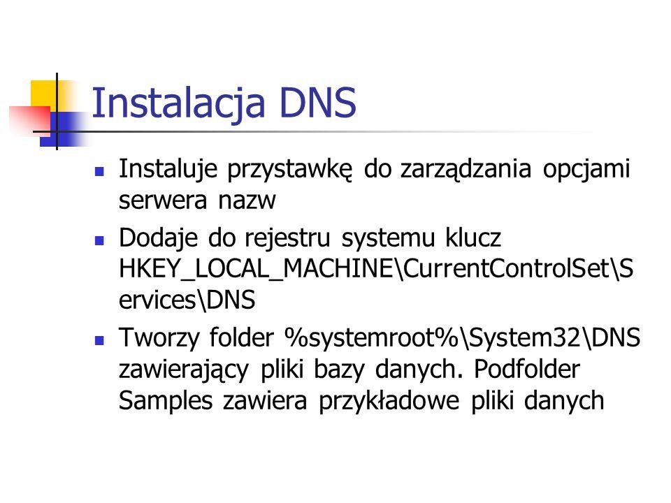 Instalacja DNS Instaluje przystawkę do zarządzania opcjami serwera nazw.