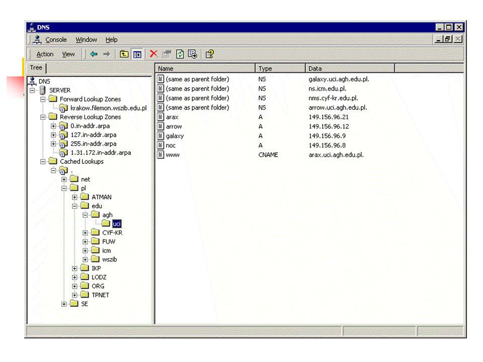 Rekordy zasobów Wpisy w pliku bazy danych strefy