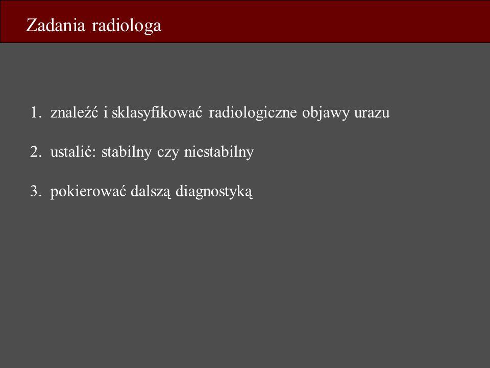Zadania radiologa 1. znaleźć i sklasyfikować radiologiczne objawy urazu. 2. ustalić: stabilny czy niestabilny.