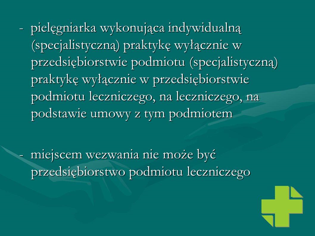 - pielęgniarka wykonująca indywidualną (specjalistyczną) praktykę wyłącznie w przedsiębiorstwie podmiotu (specjalistyczną) praktykę wyłącznie w przedsiębiorstwie podmiotu leczniczego, na leczniczego, na podstawie umowy z tym podmiotem