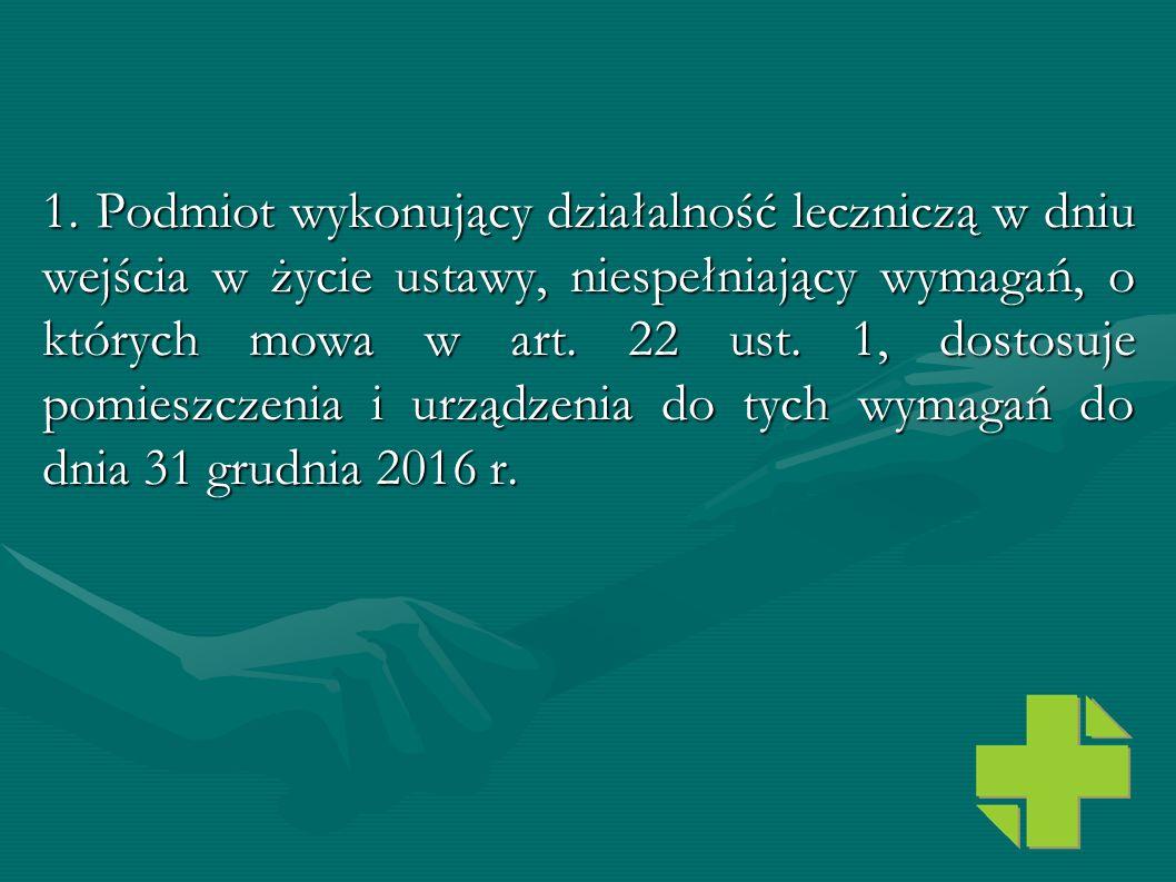 1. Podmiot wykonujący działalność leczniczą w dniu wejścia w życie ustawy, niespełniający wymagań, o których mowa w art.