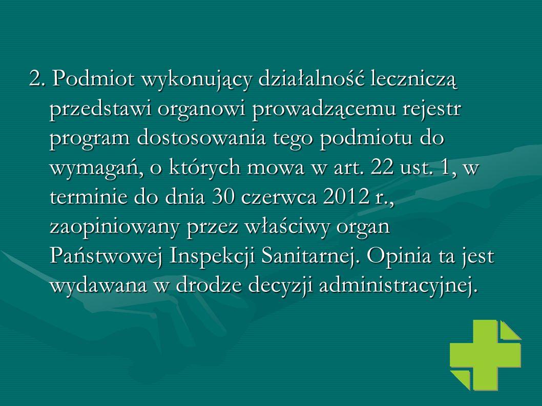 2. Podmiot wykonujący działalność leczniczą przedstawi organowi prowadzącemu rejestr program dostosowania tego podmiotu do wymagań, o których mowa w art.