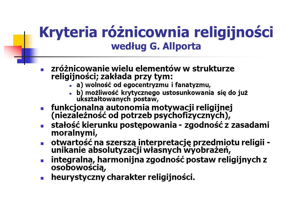 Kryteria różnicownia religijności według G. Allporta