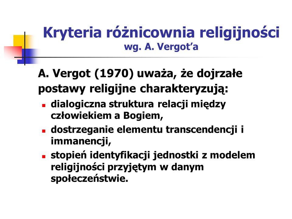 Kryteria różnicownia religijności wg. A. Vergot'a