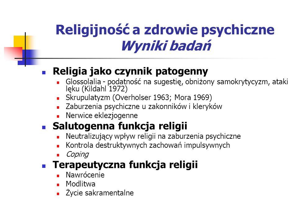 Religijność a zdrowie psychiczne Wyniki badań