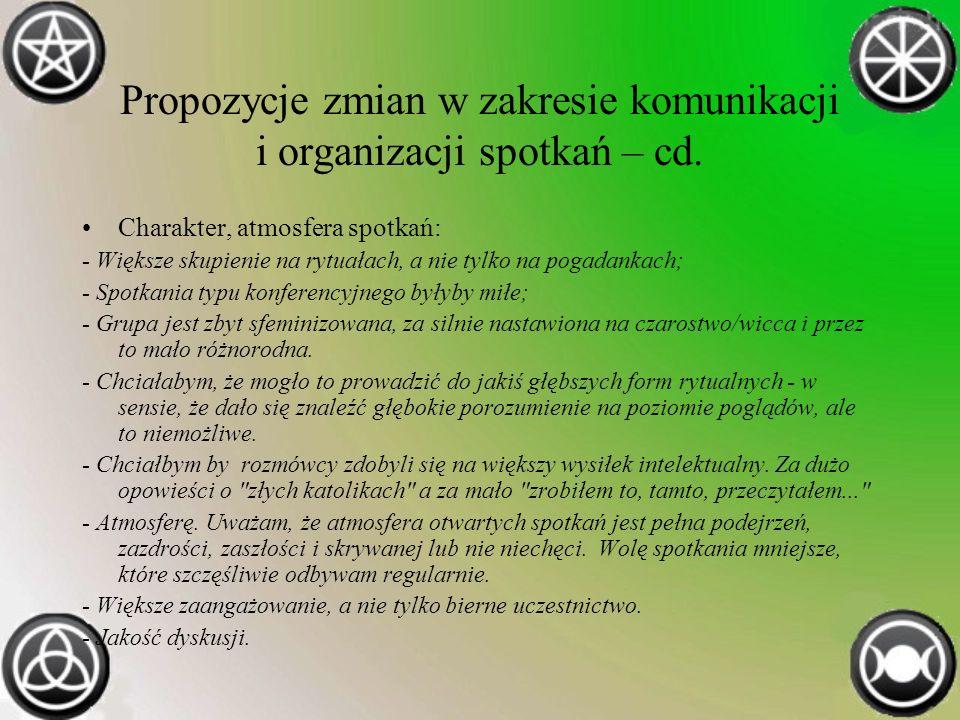 Propozycje zmian w zakresie komunikacji i organizacji spotkań – cd.