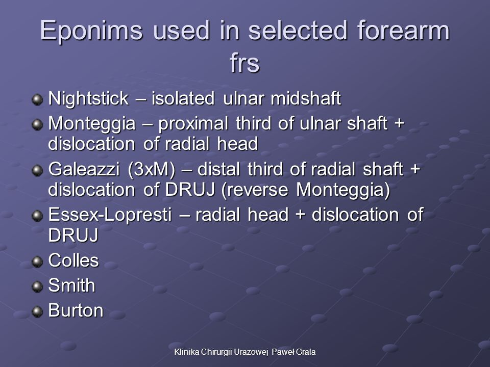 Eponims used in selected forearm frs