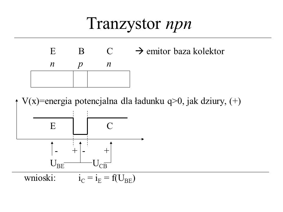 Tranzystor npn E B C  emitor baza kolektor n p n