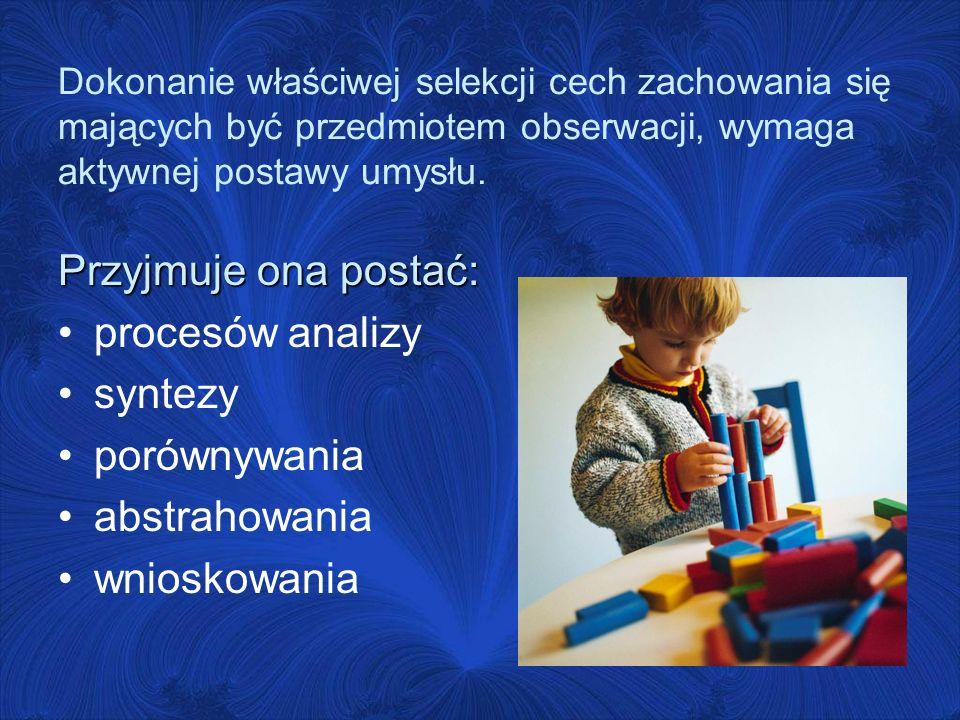 Przyjmuje ona postać: procesów analizy syntezy porównywania