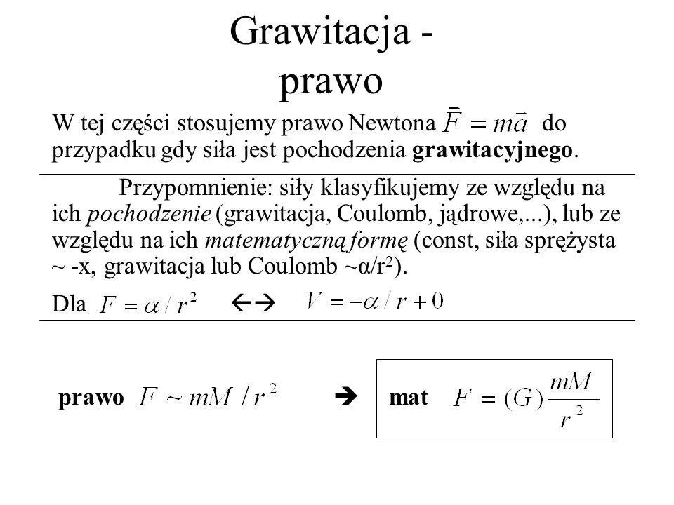 Grawitacja - prawo W tej części stosujemy prawo Newtona do przypadku gdy siła jest pochodzenia grawitacyjnego.