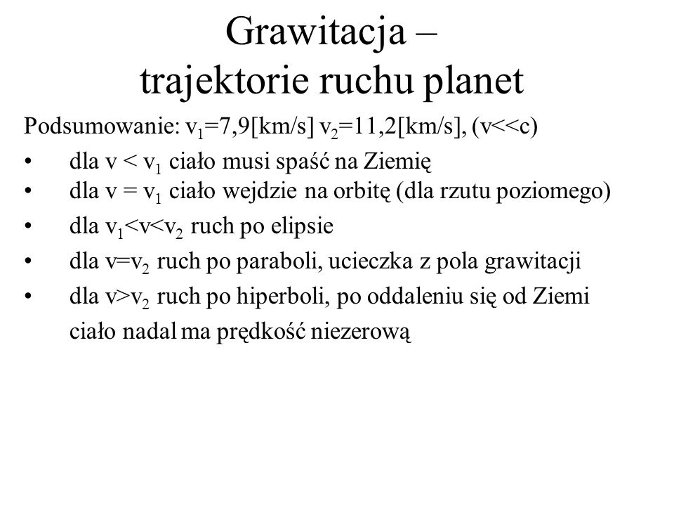 Grawitacja – trajektorie ruchu planet