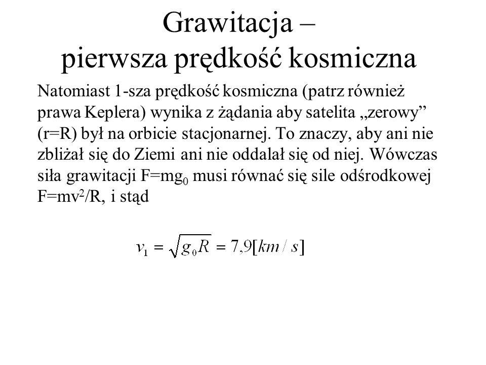 Grawitacja – pierwsza prędkość kosmiczna
