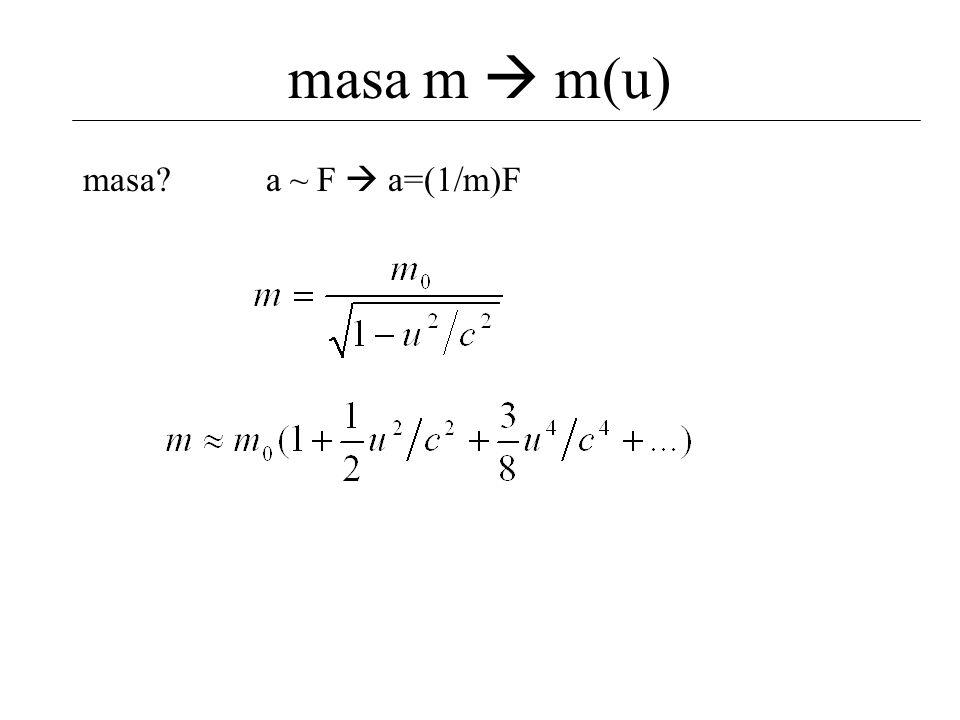 masa m  m(u) masa a ~ F  a=(1/m)F
