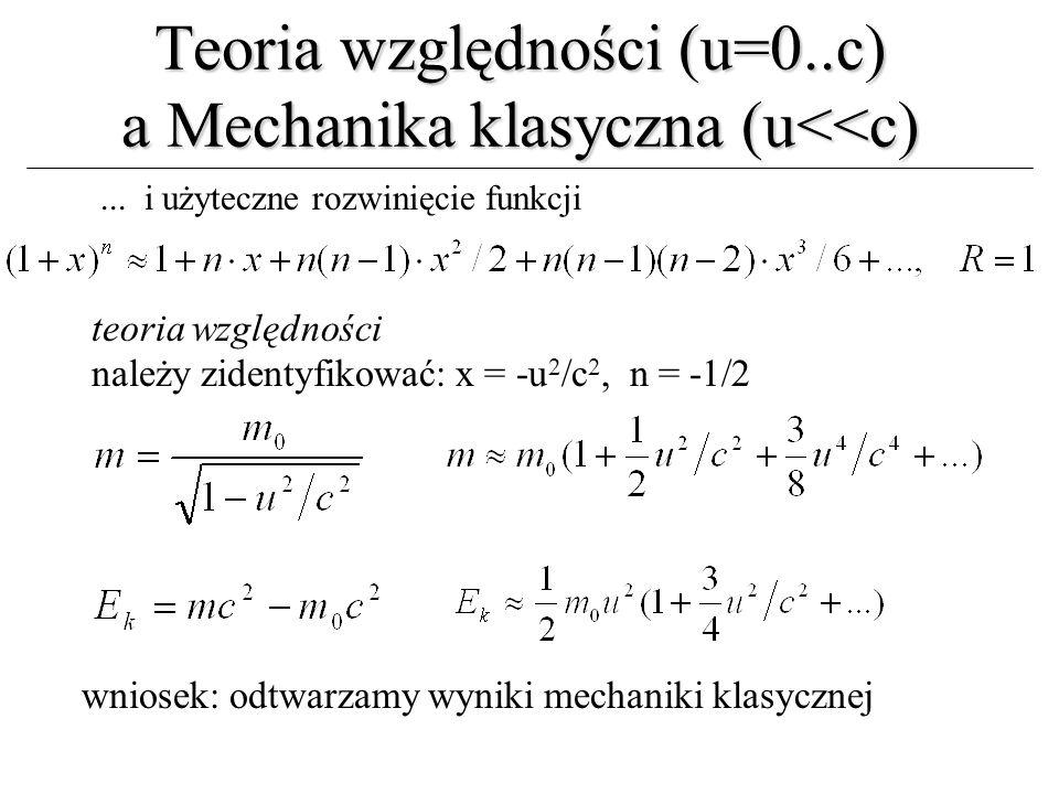 Teoria względności (u=0..c) a Mechanika klasyczna (u<<c)