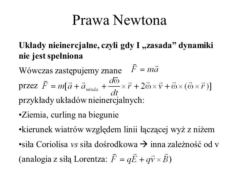"""Prawa Newtona Układy nieinercjalne, czyli gdy I """"zasada dynamiki nie jest spełniona. Wówczas zastępujemy znane."""