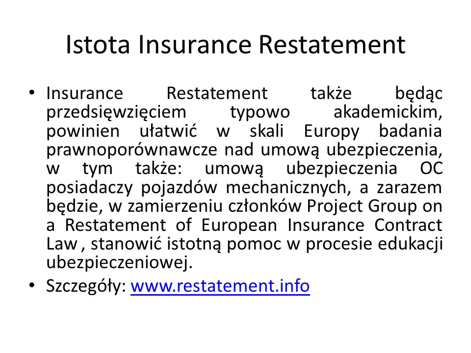 Istota Insurance Restatement