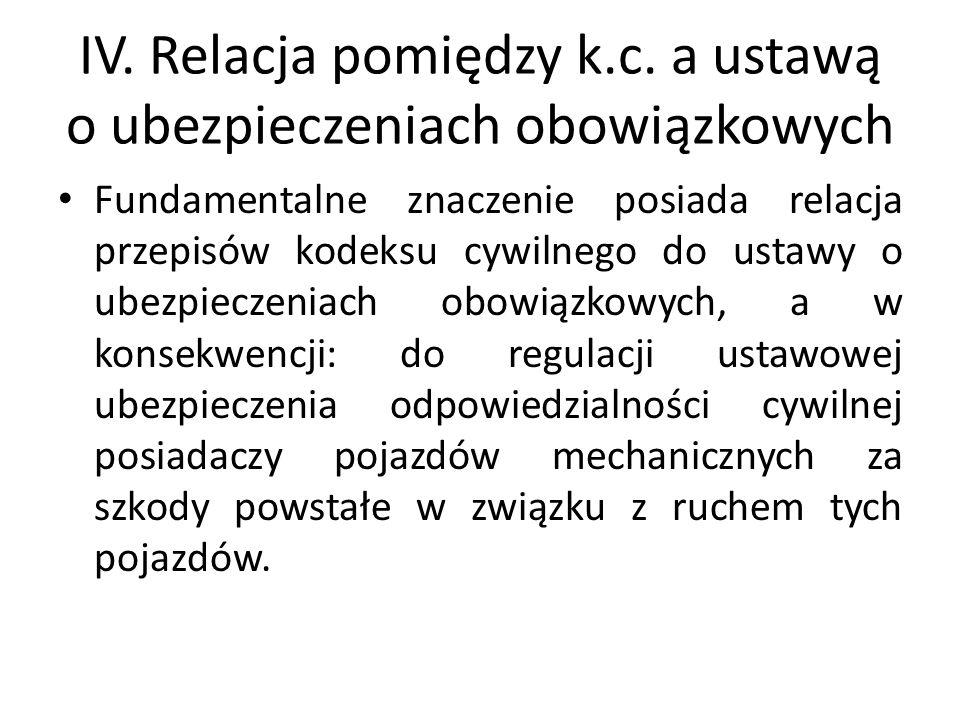 IV. Relacja pomiędzy k.c. a ustawą o ubezpieczeniach obowiązkowych