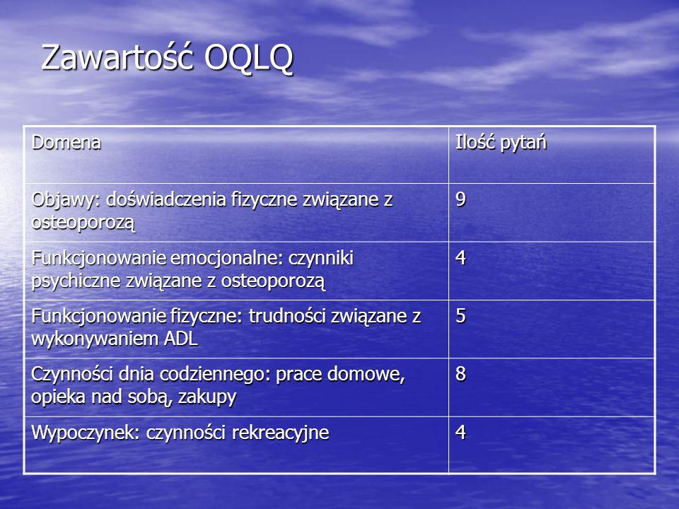 Zawartość OQLQ Domena Ilość pytań