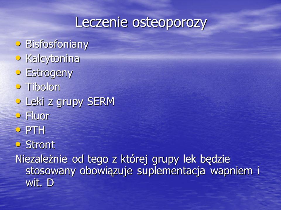 Leczenie osteoporozy Bisfosfoniany Kalcytonina Estrogeny Tibolon