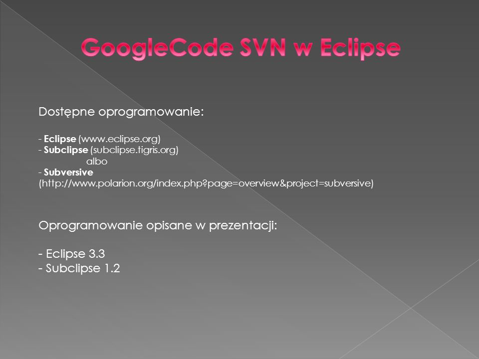 GoogleCode SVN w Eclipse