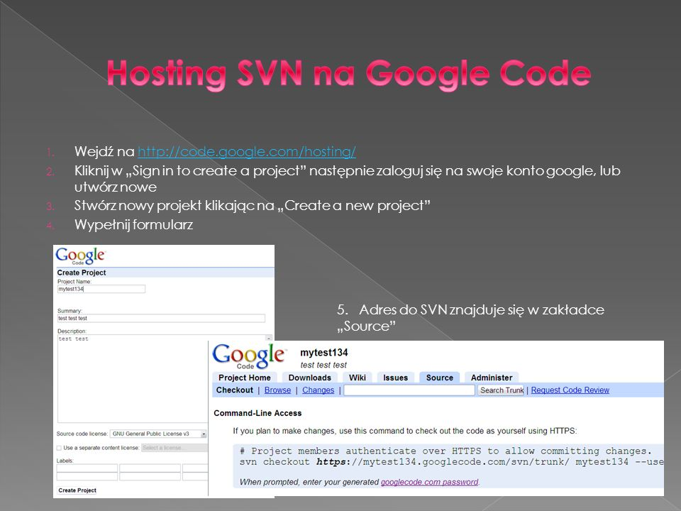 Hosting SVN na Google Code