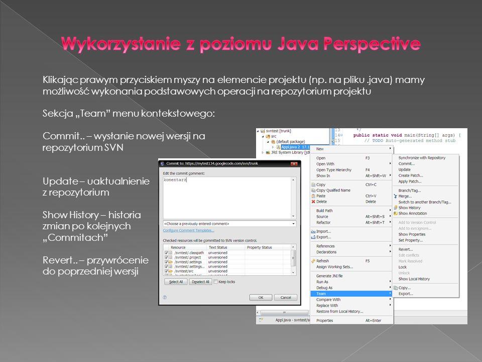 Wykorzystanie z poziomu Java Perspective