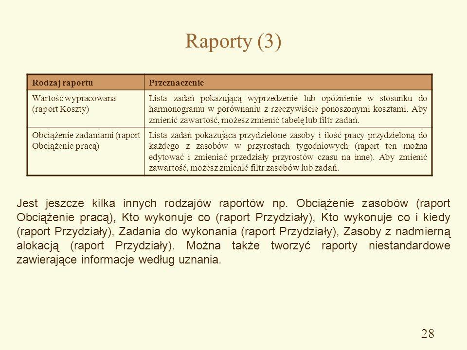 Raporty (3) Rodzaj raportu. Przeznaczenie. Wartość wypracowana (raport Koszty)