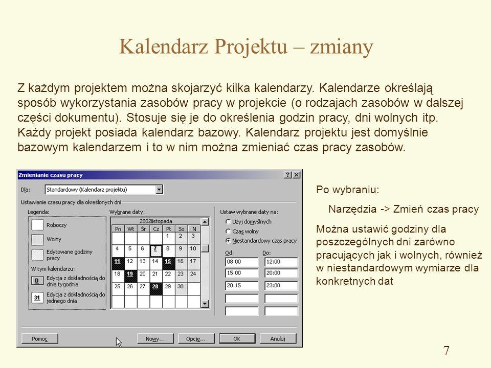 Kalendarz Projektu – zmiany