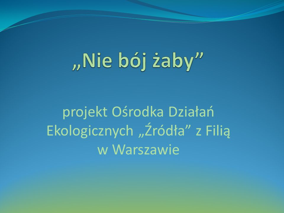 """projekt Ośrodka Działań Ekologicznych """"Źródła z Filią w Warszawie"""