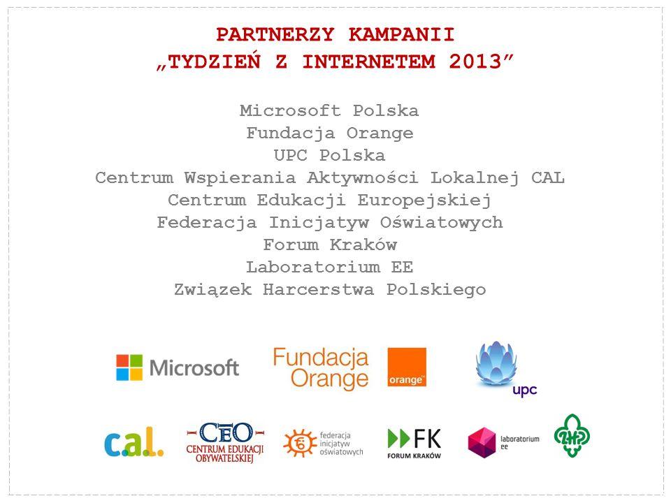 """PARTNERZY KAMPANII """"TYDZIEŃ Z INTERNETEM 2013"""