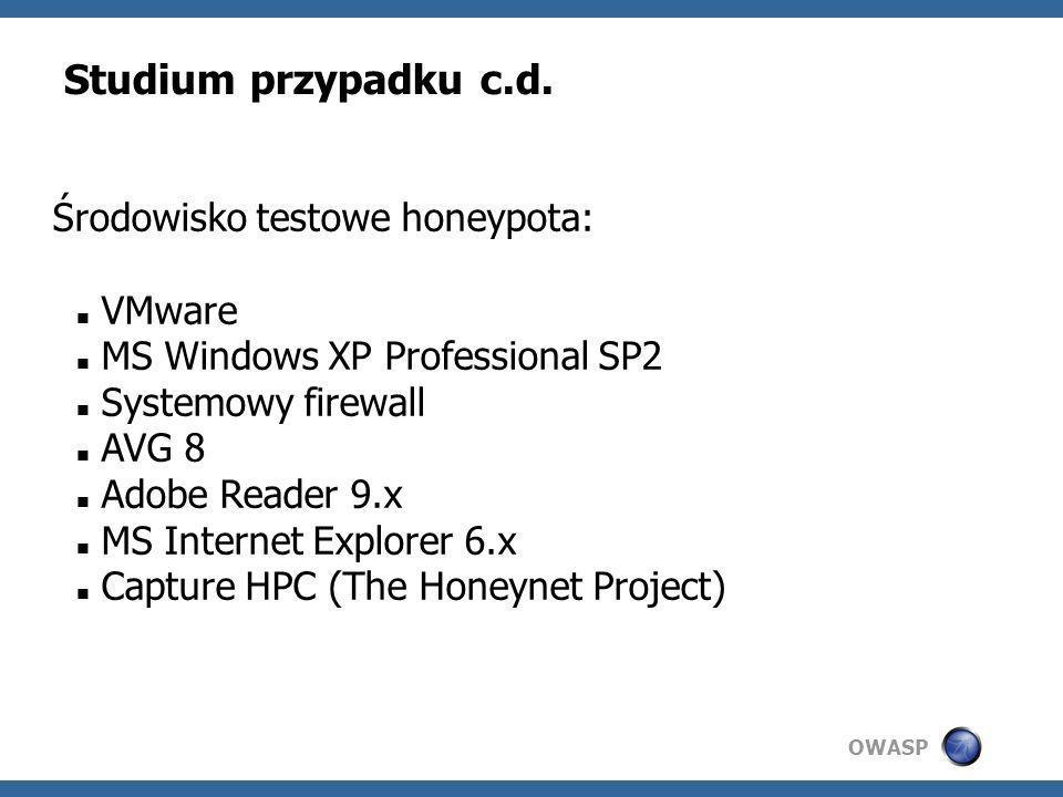 Studium przypadku c.d. Środowisko testowe honeypota: VMware