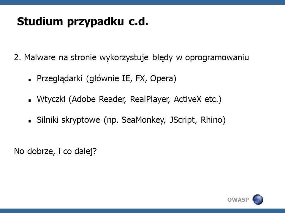 Studium przypadku c.d. 2. Malware na stronie wykorzystuje błędy w oprogramowaniu. Przeglądarki (głównie IE, FX, Opera)