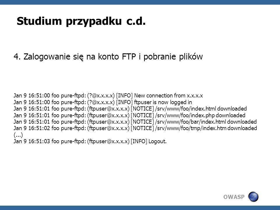 Studium przypadku c.d. 4. Zalogowanie się na konto FTP i pobranie plików.