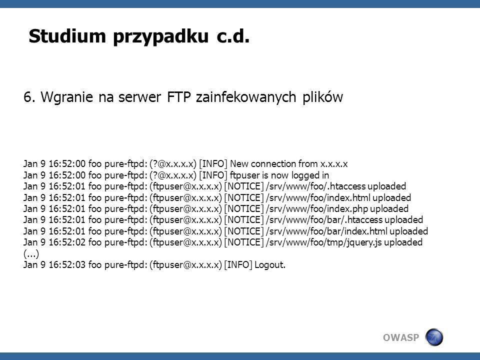 Studium przypadku c.d. 6. Wgranie na serwer FTP zainfekowanych plików