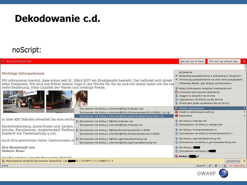 Dekodowanie c.d. noScript: