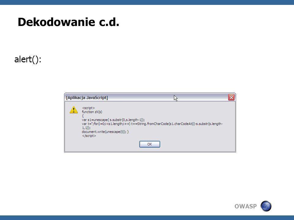 Dekodowanie c.d. alert():